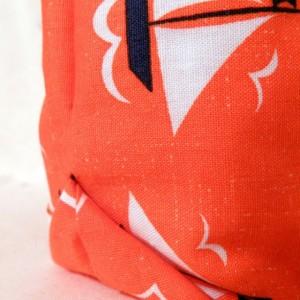 Reusable Orange Nautical Wine Bottle Gift Bag & Ribbon