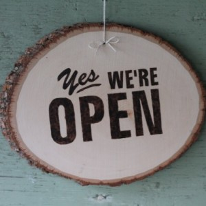 """Reversible """"Yes we're Open"""" & """"Sorry we're Closed"""" Sign. Wooden sign with wood burned letters"""