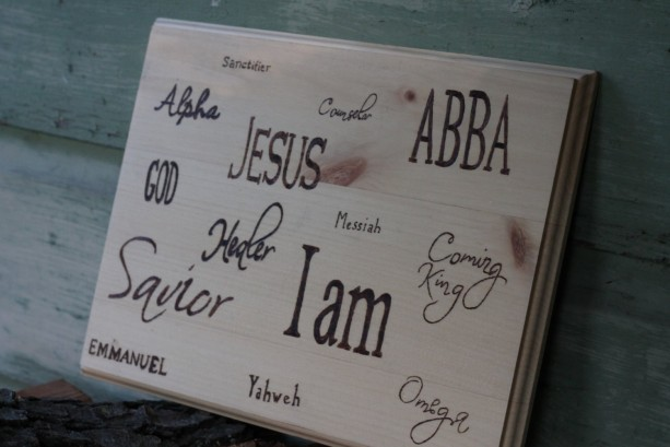 """Wooden """"Names of God"""" plaque / sign with wood burned lettering"""