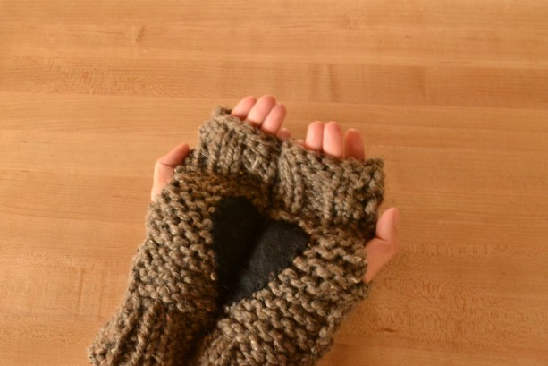 Your Heart In My Palm Knitted Fingerless Gloves | Hand Warmers