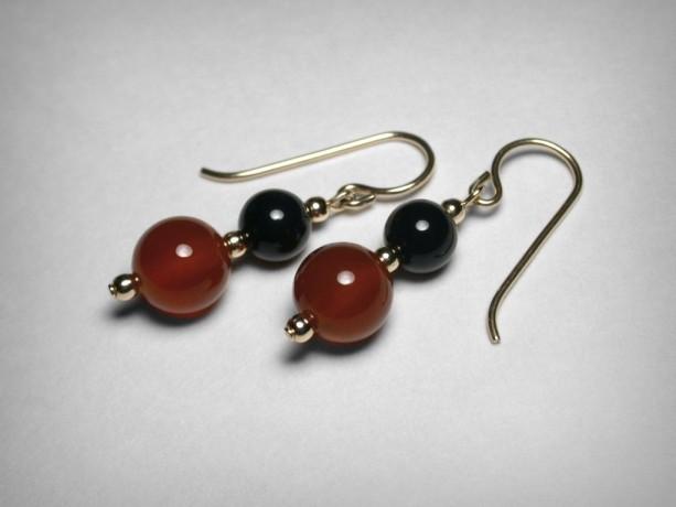 Genuine Carnelian Earrings,  Black Onyx Earrings, 14K Yellow Gold Filled, Orange Red Carnelian, Red and Black Earrings, Yellow Gold Earrings