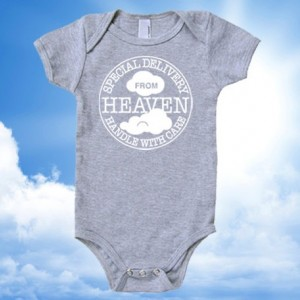 Special Delivery From Heaven • Handle with Care Postmark Cotton Baby One Piece Bodysuit - Infant Girl and Boy