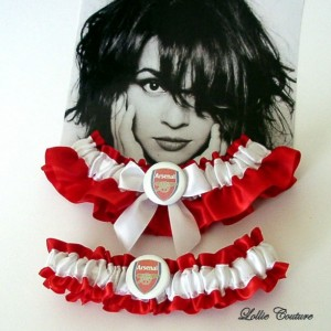 Wedding Soccer Garters Bridal Shower Gifts Red White Garters