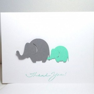 Baby Shower Thank You Note Card Set Elephant Gender Neutral Grey and Mint Green Elephant, Elephant Baby Shower Cards, Customize Your Colors