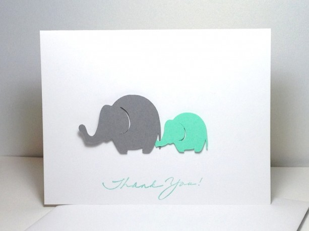 baby shower thank you note card set elephant gender neutral grey and mint green elephant - Baby Shower Card Note