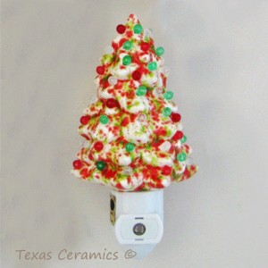 Ceramic Christmas Tree Night in Red Green & White with Light Automatic Light Sensitive On and Off Switch