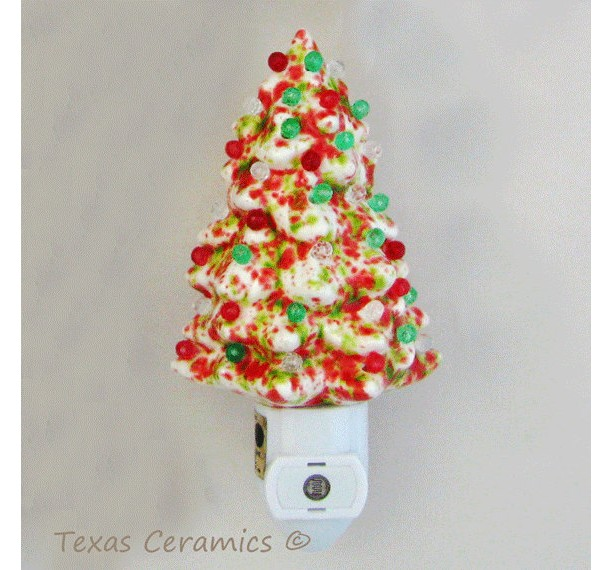 ceramic christmas tree night in red green white with light automatic light sensitive on and - Christmas Tree Night Light