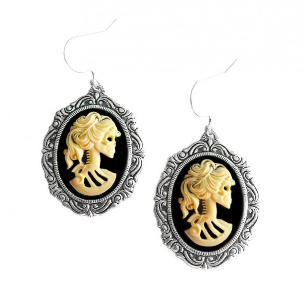 Skull Earrings - Skeleton Cameo - Lolita Ivory - Day of the Dead Jewelry