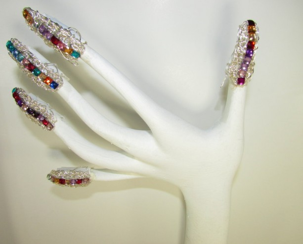 Rainbow multi colored fingernail jewelry to protect and style your nails for any occasion!  mothers day christmas bridal drag gothic halloween