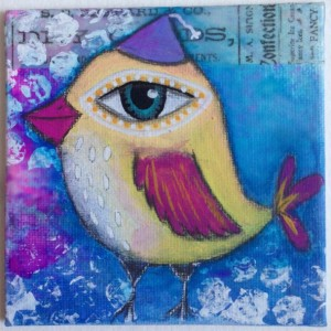 TINY TREASURE: Party Birdy Mixed Media Acrylic Painting of Whimsical Bird with Color, Detail & Texture in the Style of Tamara Laporte Artist