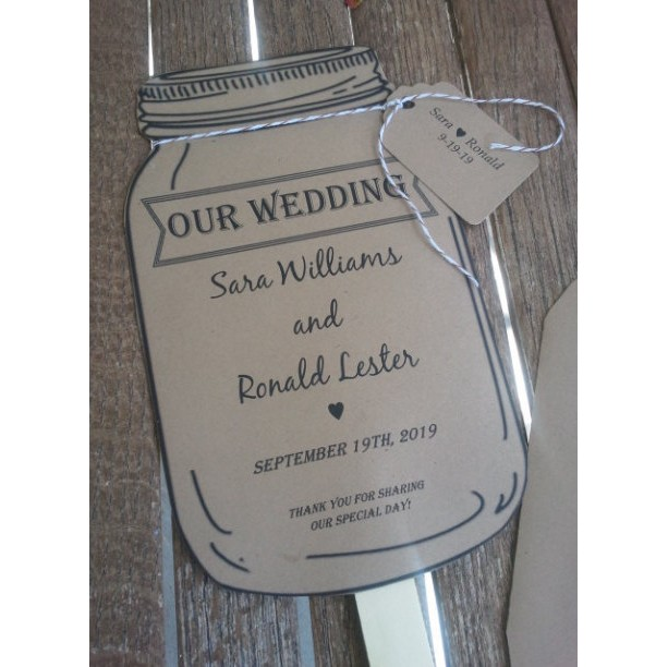Personalized Rustic Mason Jar Wedding Paddle Programs Set