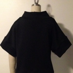 scuba knit boxy top with high collar