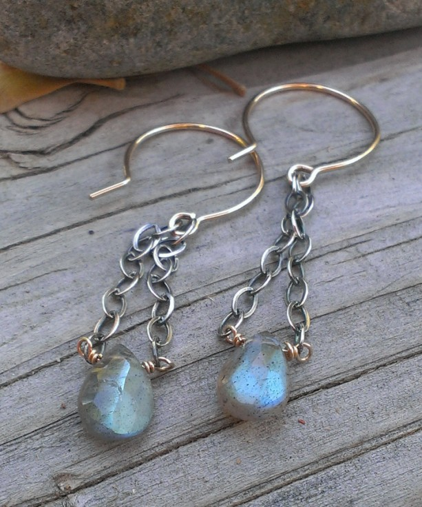 Labradorite Gemstone Earrings - Mixed Metal (sterling & 14KGF) with Labradorite Briolette - all handforged