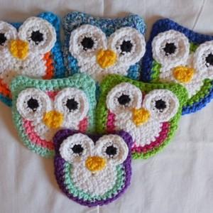 Set of 2 Handmade Crochet Purple, Green, White Owl Kitchen Dish / Pot Scrubbie   os129