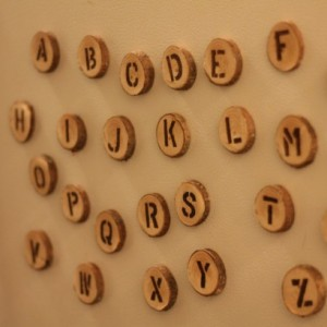 Wood Alphabet Fridge Magnets. Handmade from pine with wood burned letters. Full 26 letter alphabet!