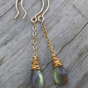 Labradorite Earrings in 14K Gold Fill - Labradorite Briolettes hang from 14KGF chain with Wonky Wrap detail