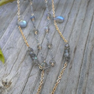 Labradorite Gemstone Necklace / Double Strand - Mixed Metal (sterling & 14KGF) with Labradorite Briolettes, Rondelles
