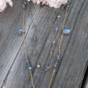 Labradorite Gemstone Necklace / Double Strand - Mixed Metal (sterling & 14KGF) with Labradorite Briolettes, Rondelles