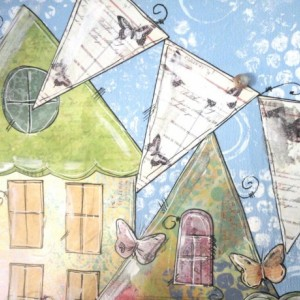 Art Collage Mixed Media Whimsical Village 16x20 with Houses, Patterns, Doodles, Butterflies on Stretched Canvas. Finished on all sides