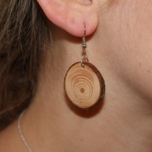 Wood dangle earrings. Handmade natural hardwood Jewelry.