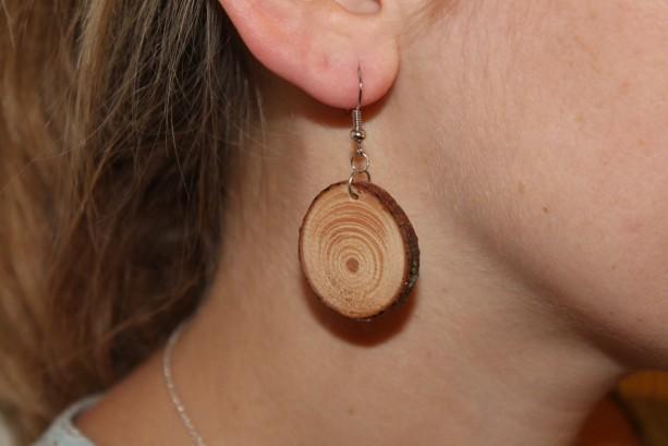 Wood dangle earrings. Handmade natural hardwood Jewelry.