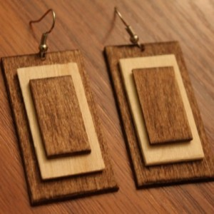Wood Dangle Earrings. Modern Natural Look. Handmade Jewelry
