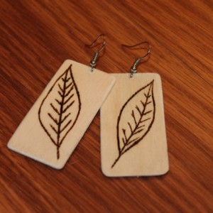 Wood Dangle Earrings with wood burned leaf design.Natural Handmade.