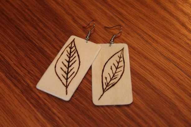Wood Dangle Earrings with wood burned leaf design.Natural Handmade.