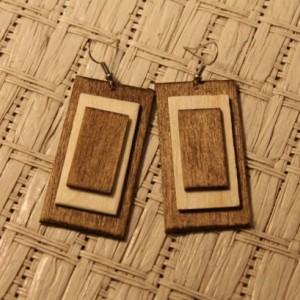 Wood Dangle Earrings. Modern Natural Look. Handmade Jewelry