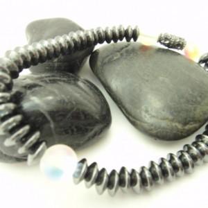 Gray Unisex Bracelet, Unisex Teen Bracelet, Casual Chic Bracelet, Trendy Teen Bracelet, Iridescent Bracelet, Gray White Bracelet