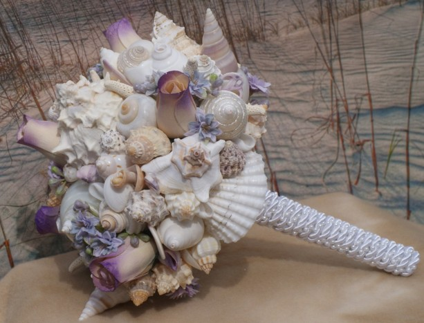 The Lilac  Purple Beach Bride Bouquet, A Seashell Bouquet, Bridal Bouquet, Beach Bouquet, Destination ,Seaside , Made to Order