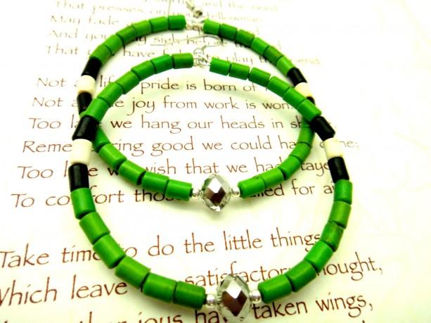 Green Black Hoops, Boho Chic Hoops, Trendy Teen Earrings, Color Block Earrings, Natural Hair Earrings, Lightweight Hoops,Green White Dangles