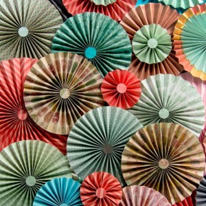 40pc Set of  mint & coral  Paper Pinwheel's Rosette paper Flower Party Decoration wedding birthday shower pinwheel decour pinwheels