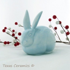 Light Blue Rabbit Ceramic Cotton Ball Holder for Bathroom Vanity Bunny Cotton Keeper
