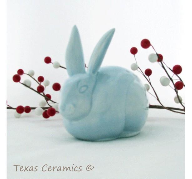 Light Blue Rabbit Ceramic Cotton Ball Holder for Bathroom Vanity Bunny Cotton Keeper