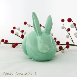 Ceramic Bunny Cotton Ball Holder in Sea Glass Green for Bathroom Vanity Cottontail Rabbit Cotton Keeper