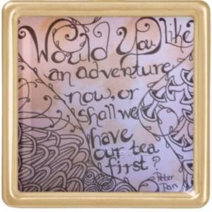 Peter Pan inspired, Quote necklace, Adventure, Tea