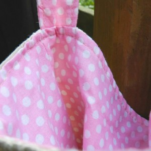 Embroidered Linen and Pink Polka Dot Pleated Hobo Purse with Adjustable Strap