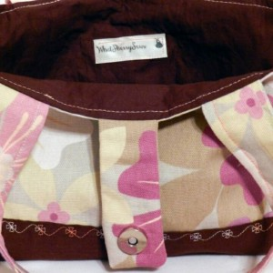 Small Brown, Tan and Pink Floral Purse or Tote with Magnetic Closure