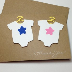 Twins Baby Shower Thank You Card Set, Twins Thank You, Twin Bodysuit Baby Shower Thank You Cards, Boy Girl Twins Baby Shower Cards