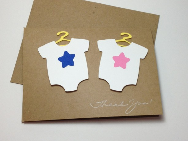 Twins Baby Shower Thank You Card Set Twins Thank You Twin Bodys
