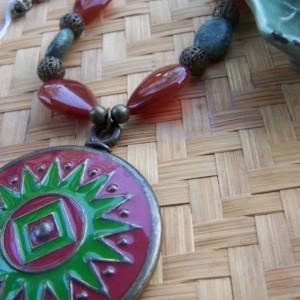 Red Sunburst Pendant Carnelian Stones Necklace