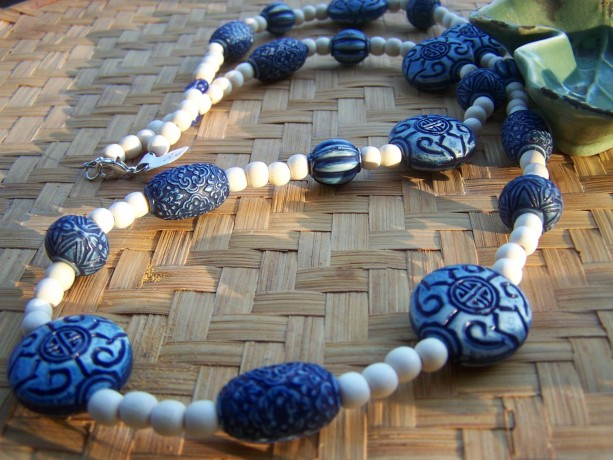 Blue Long Wooden Necklace- Boho Bohemian Earthy
