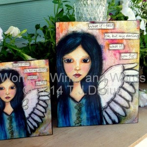 What If I Fall Sign - What if You Soar Sign - Angel Wall Art - Angel Canvas Sign - Soaring Angel Sign - Inspirational Angel Wall Hanging