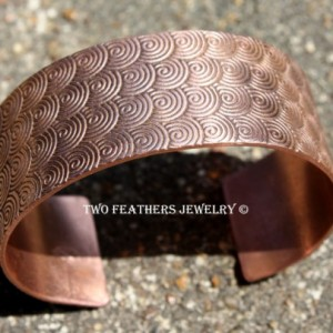 Spiral Copper Cuff Bracelet - Spiral Pattern Solid Copper Cuff - Copper Bracelet - Wide Cuff - Petroglyph Symbol - Two Feathers Jewelry