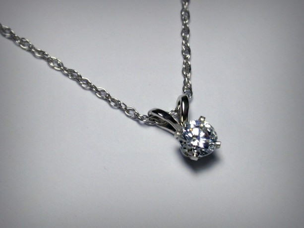 gold carat in white solitaire necklace with diamond pendant a