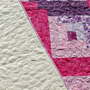 Pink Purple Log Cabin Lap Quilt Ivory Minky Sherpa Backed Teen Blanket