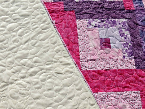 Pink Purple Log Cabin Lap Quilt Ivory Minky Sherpa Backed