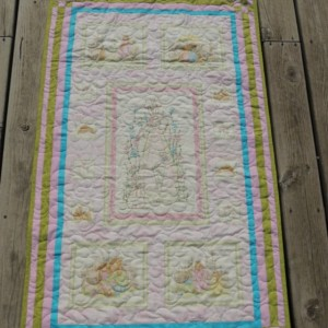 Hand Embroidered Rabbit Baby Girl Quilt Ivory Minky