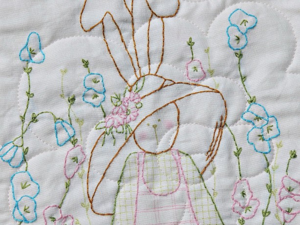 Hand Embroidered Rabbit Baby Girl Quilt Ivory Minky Backing Bunny Blanket